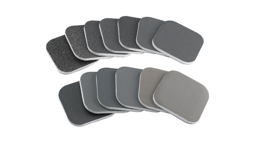 Sylmasta Micro Abrasive Foam-Backed pads are used on soft woods, plastics, paint and for finishing metals